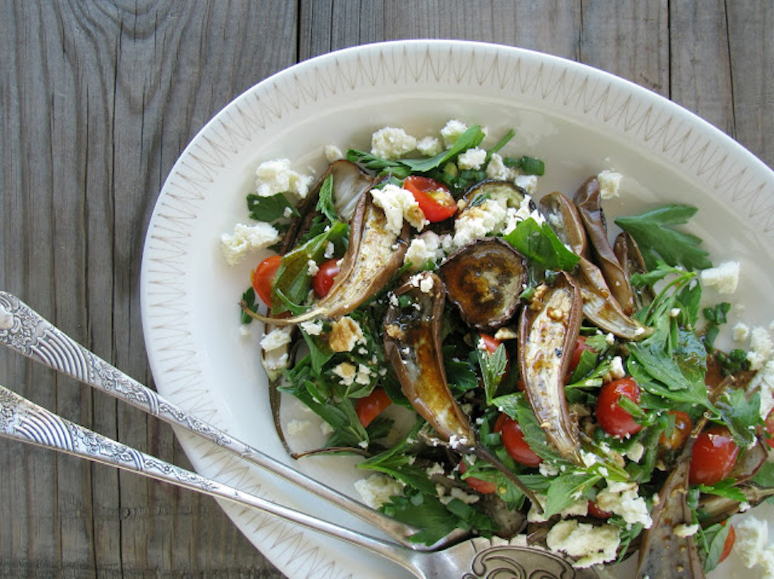 Roast Eggplant, Tomato And Feta Salad (Recipe)