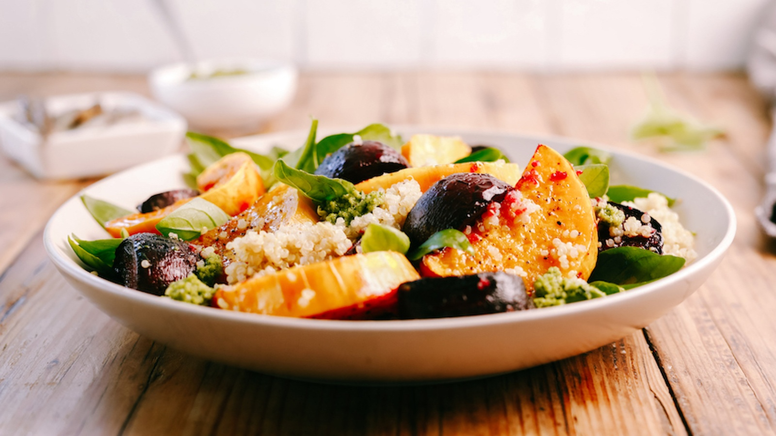Roast Pumpkin & Beetroot Quinoa Salad with Basil Pesto