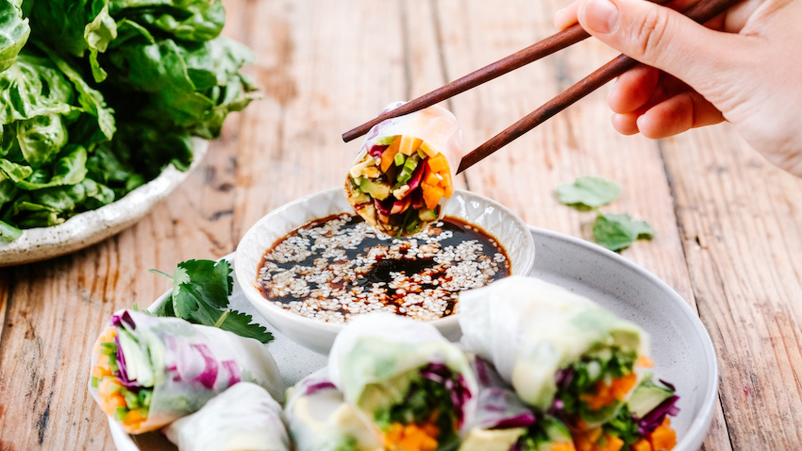 Rice Paper Rolls with Tamari Dipping Sauce