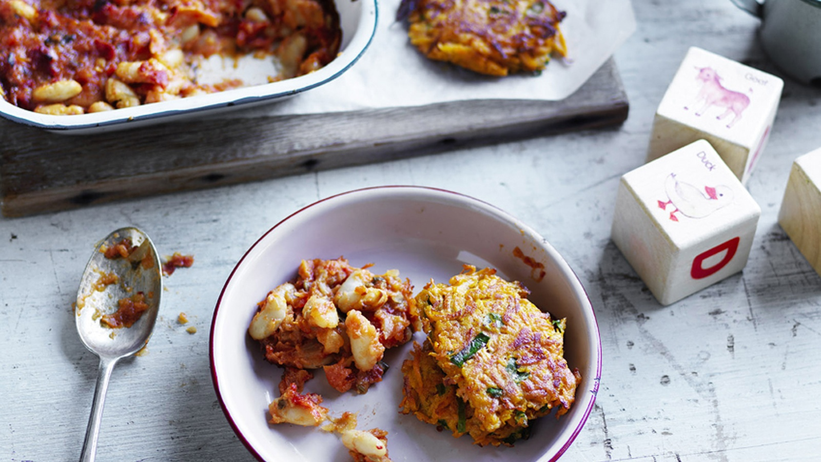 Sweet Potato Hash Browns With Baked Beans