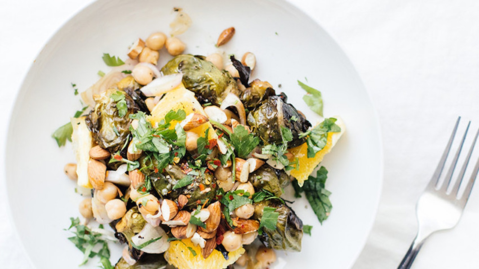 Citrus Chickpea & Brussel Sprout Salad