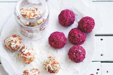 Healthy recipes nutritious delicious ideas food matters raspberry coconut balls almond tahini balls forumfinder Images