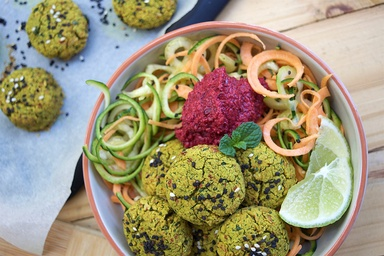Healthy recipes nutritious delicious ideas food matters turmeric kale falafels with zoodles forumfinder Images