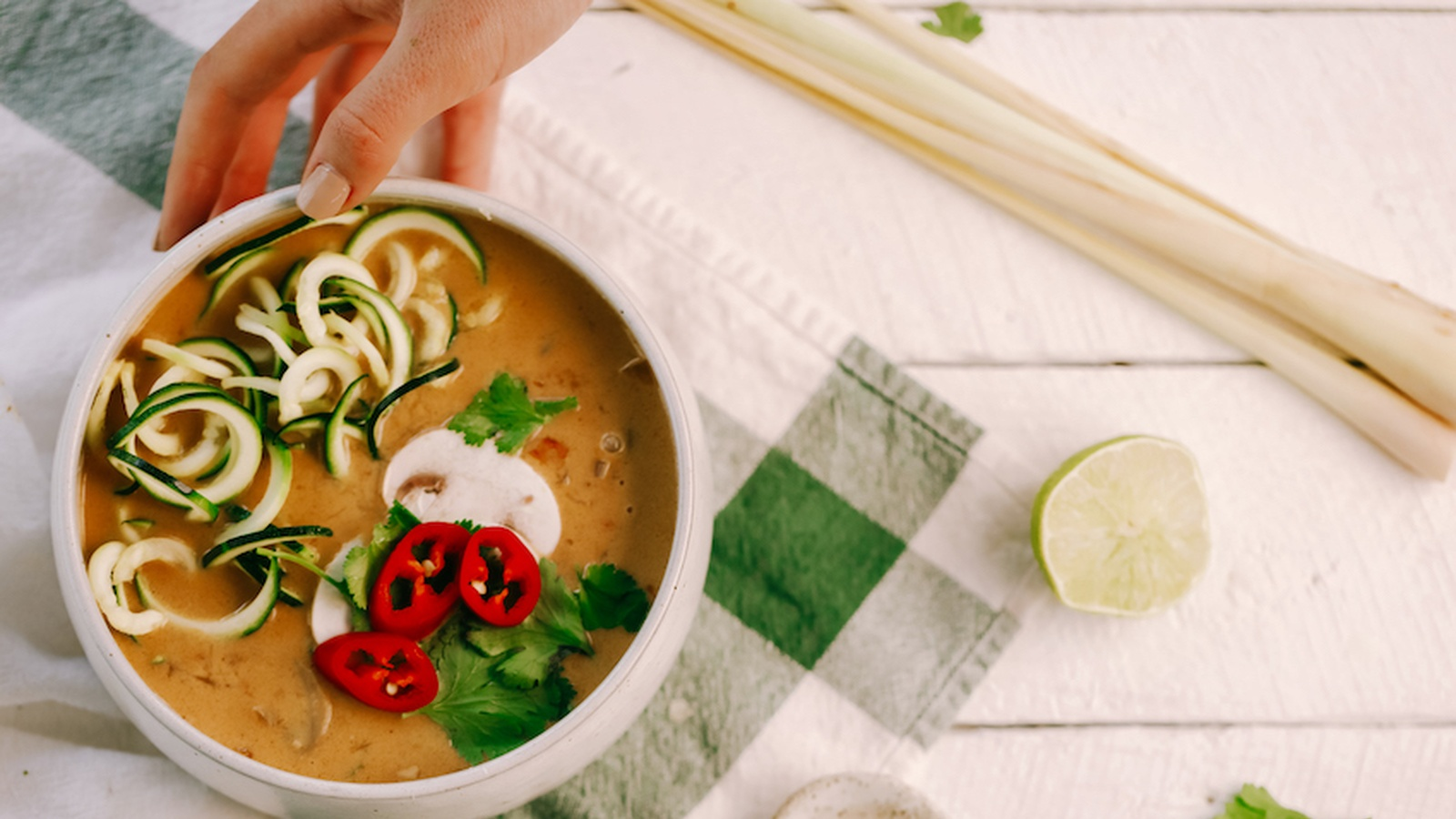 Tom Kha Soup with Zucchini Noodles