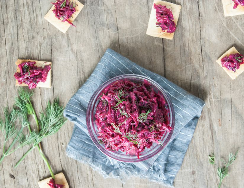Beet Tzatziki with Garlicky Almond Meal Crackers (Recipe)