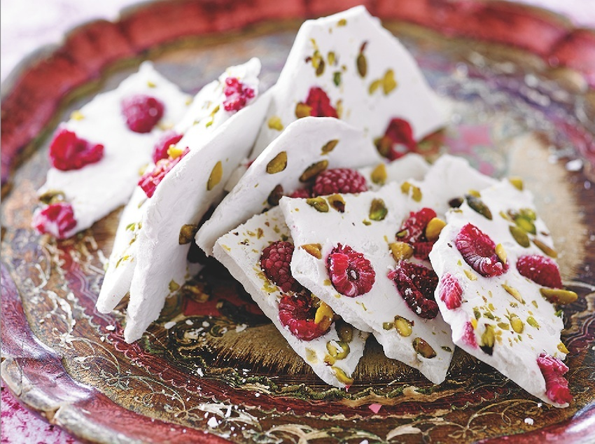 Raw Food That Matters For Your Health And Wellness-Coconut Bark With Rosewater, Pistachios and Raspberries