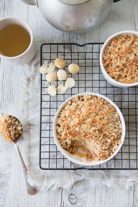 Vegan Peach, Macadamia & Coconut Crumble