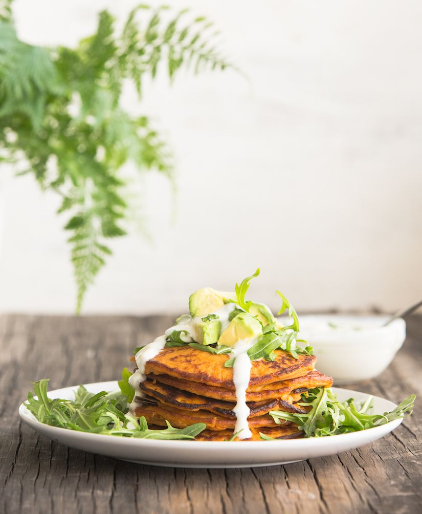 Sweet Potato Pancakes With Breakfast Greens