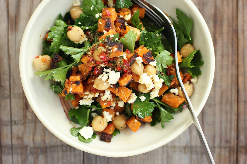Roast Kumara, Chickpea And Feta Salad With Spiced Lemon Dressing (Recipe)