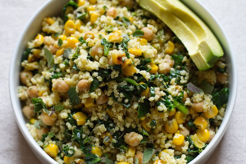 Lemony Millet Salad With Chickpeas, Corn & Spinach (Recipe)