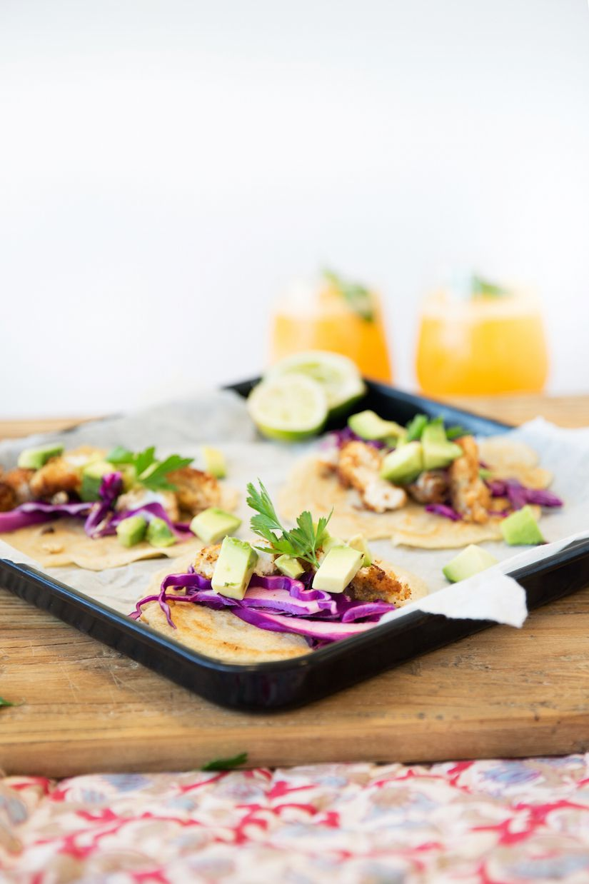 Fish tacos with cabbage slaw and gluten free tortillas for Cabbage slaw for fish tacos