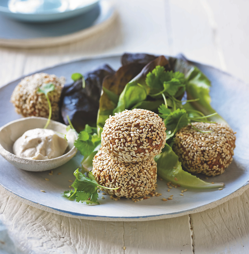 Sunflower Seed Falafel Balls With Tahini Dipping Sauce