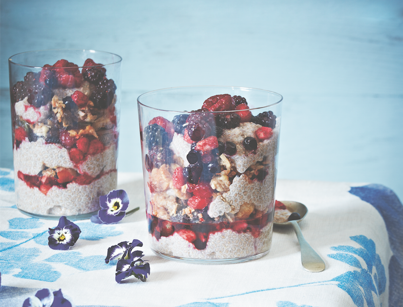 Chia Pudding With Granola And Mixed Berries
