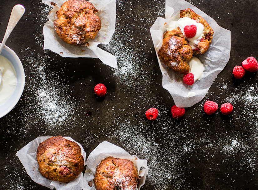 Raspberry, Coconut, Banana Muffins