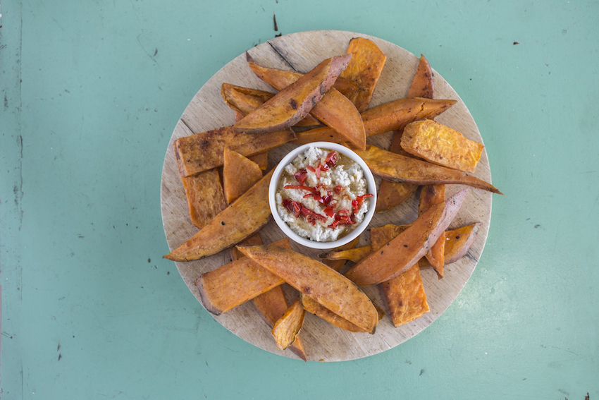Sweet Chili Cashew Dip With Sweet Potato Chips