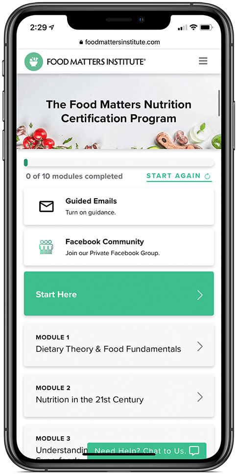 The Food Matters Nutrition Certification Overview