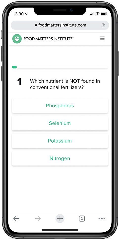 The Food Matters Nutrition Certification Quiz