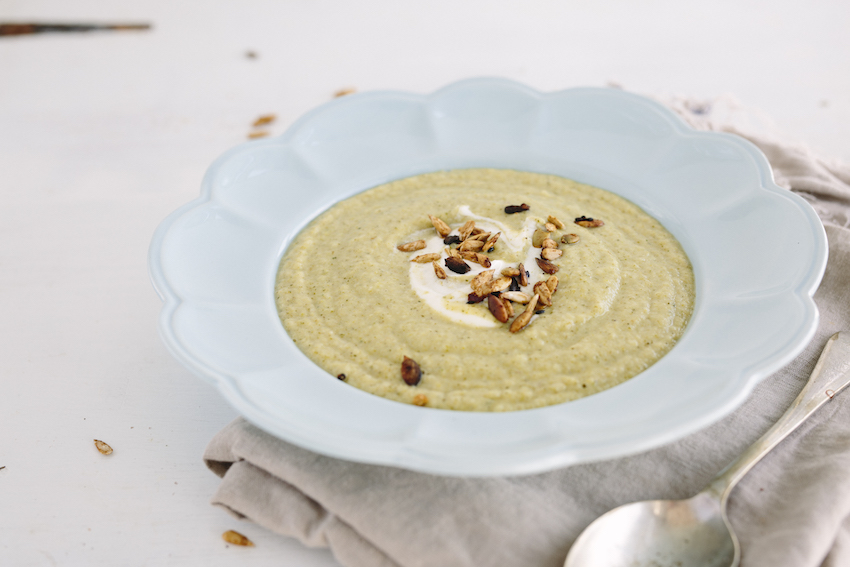 Broccoli Rabe Soup With Crunchy Spiced Seeds