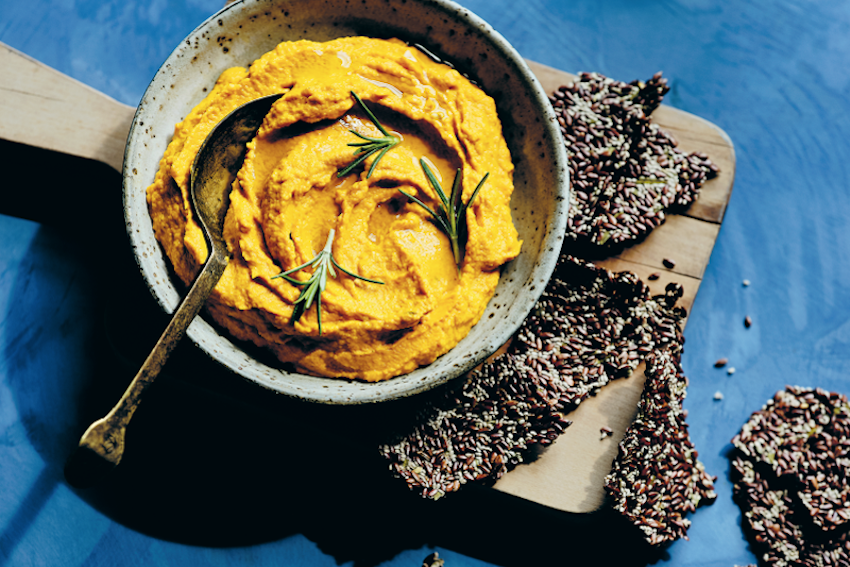 Carrot Hummus with Rosemary Linseed Crackers