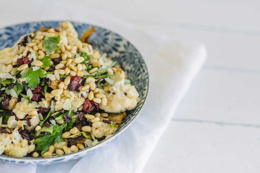 Roasted Cauliflower, Mushroom & Wild Rice Salad