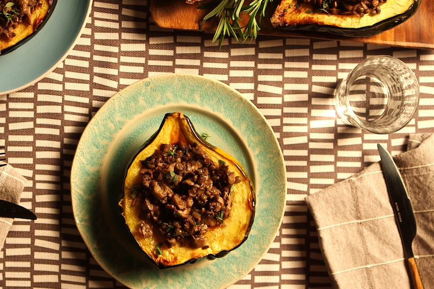Lentil And Mushroom Stuffed Acorn Squash