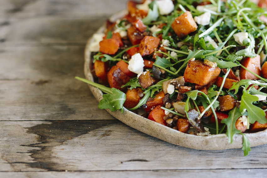 Moroccan Sweet Potato, Lentil & Feta Salad