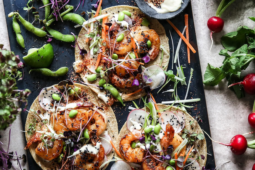 Miso and Ginger Prawn Tacos
