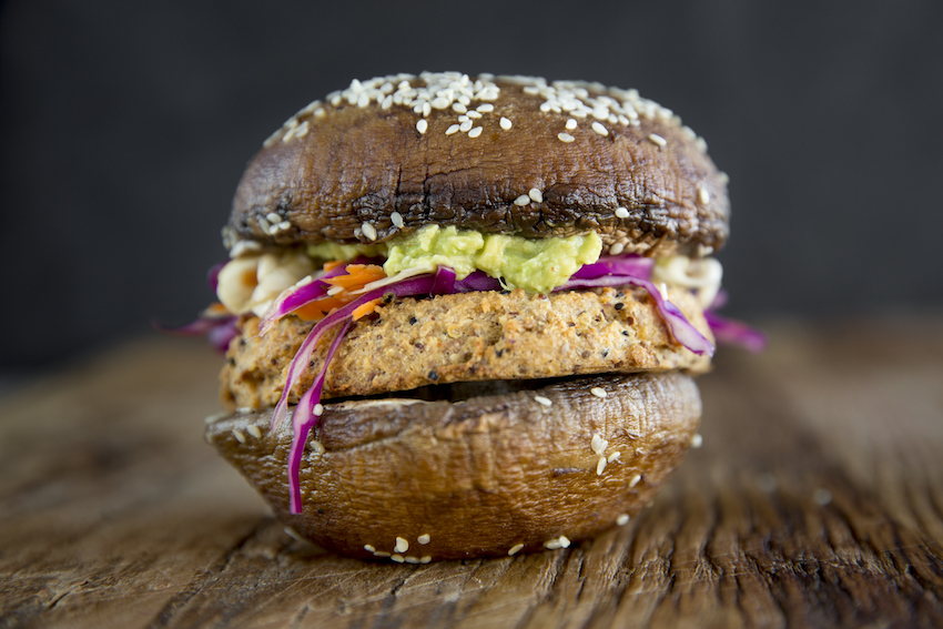 Portobello Mushroom Burgers With Spicy Cauliflower Patties