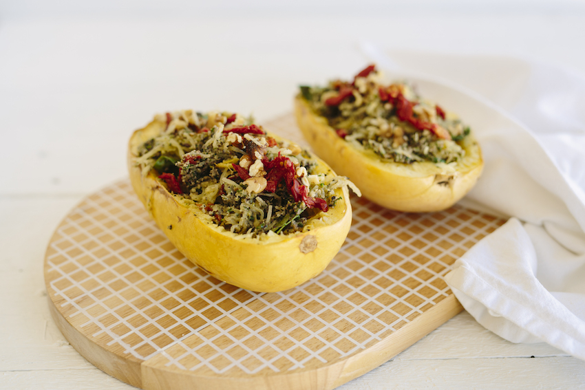 Spaghetti Squash Pasta With Super Green Kale & Broccoli Pesto