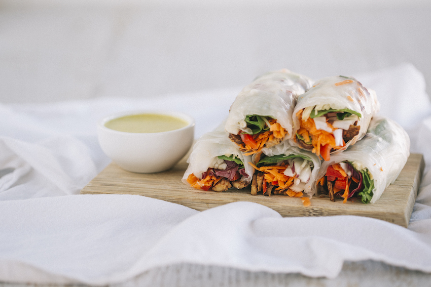 Tempeh Satay Sticks With Rice Paper Rolls